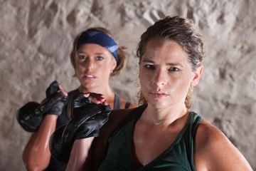 Two Serious Women Working Out