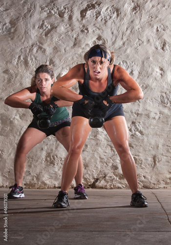 Two Women Struggle with Boot Camp Workout