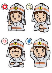消防士の表情イラスト
