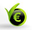 icône euro sur bouton vert et noir