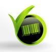 icône code barre sur bouton vert et noir