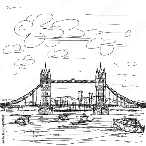 英国伦敦景点手绘