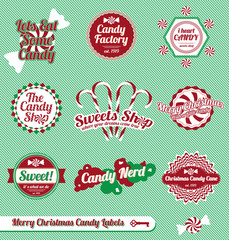 Vector Set: Vintage Christmas Candy Labels and Icons