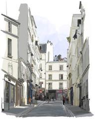 fototapeta ulica w pobliżu Montmartre w Paryżu