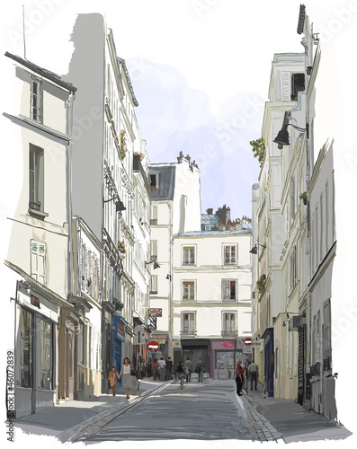 street near Montmartre in Paris - 46072839