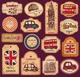 Fototapety Vintage tags and labels with London symbols