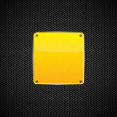 Yellow polished shiny metal plate - vector