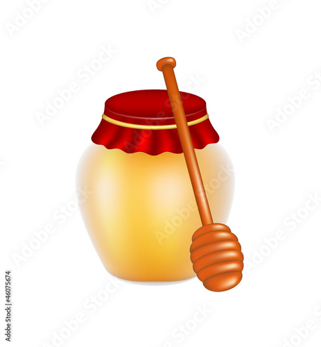 Sweet honey and wooden honey dipper