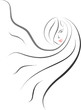 hair salon logo icon in brush drawing style