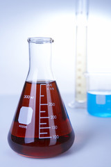 Red liquid in conical flask
