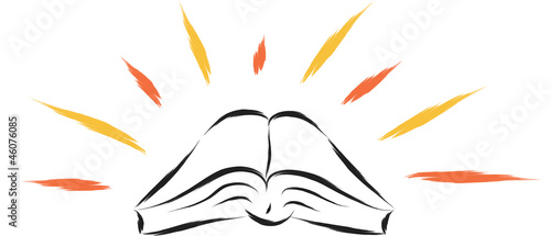 abstract illustration of holy religious book with sparks