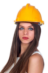 Attractive woman with blue eyes and yellow helmet