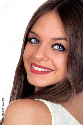 Attractive woman with blue eyes
