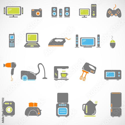 Home appliances icon set
