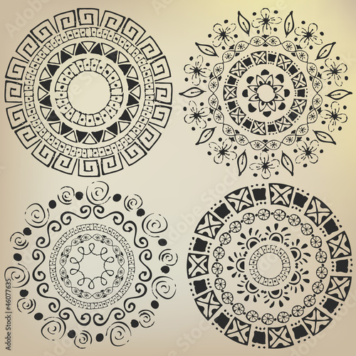 Ethnic mandalas drawn by hand