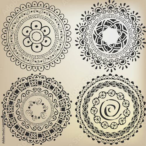 Set of ethnic patterns in the form mandala