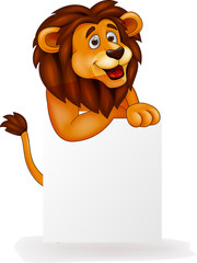 Lion cartoon with blank sign