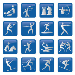 Set of blue sport icons