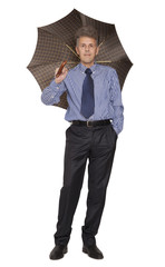 Isolated adult business man with umbrella