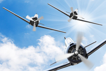 The Fighters - old propeller planes. Retro technology theme.
