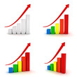 Collection of business graphs with red rising arrow over white