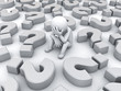 Stressed 3d man sitting amongst question marks on white