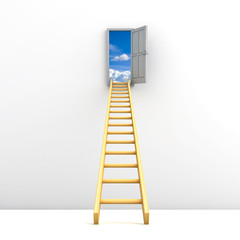 Ladder to the sky concept over white background