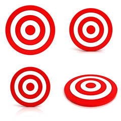 Collection of red targets isolated on white background