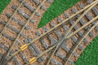 closeup of model railroad tracks