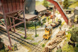 miniature model logging yard and workers - 46079272