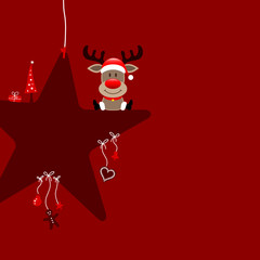 Sitting Rudolph On Red Star & Symbols Dark Red