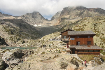 mountain huts at lac Blanc in Aiguilles Rouges Nature Reserve