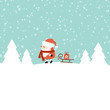 Santa Pulling Sleigh With Gift Retro