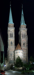 Night view of the Saint Sebaldus Church in Nuremberg