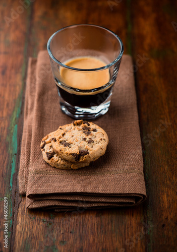Chocolate chip cookies and a glass of espresso