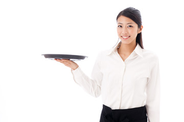 a young asian waitress on white background