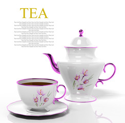Porcelain teapot and teacup on white background