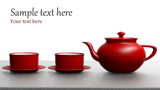 Red tea set on white background