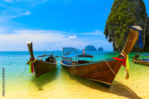 Thailand traditional wooden boats. Sea landscape
