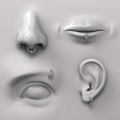 parts of the face with piercing