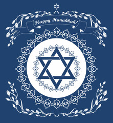 Jewish Hanukkah holiday background with magen david star -  vect