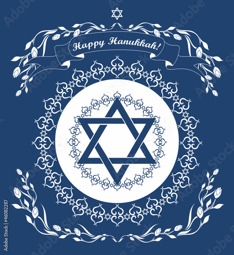 Jewish Hanukkah holiday background with magen david star -  vect