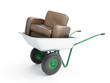 wheelbarrow with leather armchair