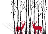 Fototapeta birch trees with christmas deers, vector