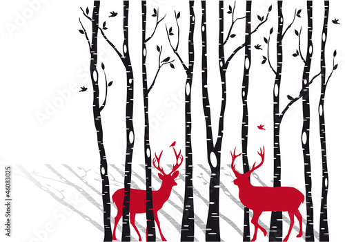 Obraz na Szkle birch trees with christmas deers, vector