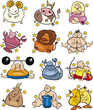overweight cartoon zodiac signs