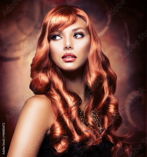 Beautiful Girl With Healthy Long Red Hair