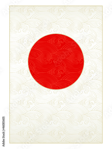 Waves background in form of Japanese national flag