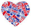 Traditional Symbols of London and England in the form of heart