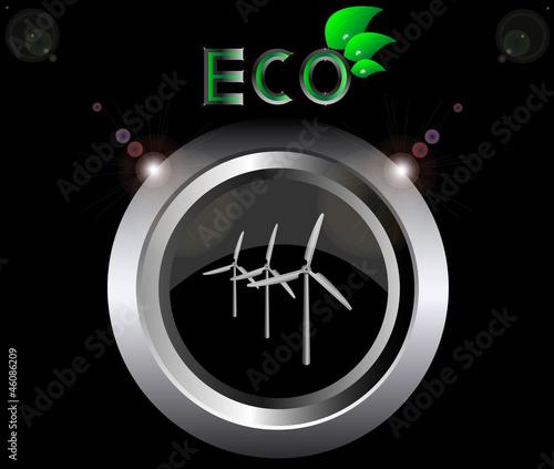 eco ecology logo green leaf wind generator turbine vector